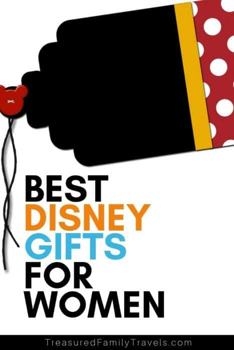 Black, yellow and red gift tag on white background with mickey head and black string with text of the best disney gifts for women