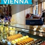 Glass case filled with brightly colored bakery items under white text reading best cafes in Vienna