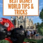 Red sequin headband with white dots and black sequin blow in front of Cinderella's castle at Disney World amid a blue sky with a few white clouds with an orange text overlay for the best Disney World Tips