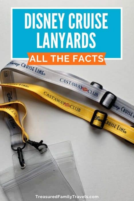 Two lanyards - one silver, one yellow- with the words Disney Cruise Line Castaway Club imprinted on them on top of a white background