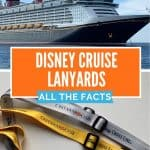 Two pictures with top picture showing a Disney cruise ship and bottom picture showing 2 lanyards, one silver and one yellow, with the words Disney Cruise Line Castaway Club