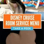 Two pictures with top picture showing a room service tray consisting of steel carafe and Mickey ice cream bars and bottom picture showing a close up of a chocolate cover ice cream bar in the shape of Mickey Mouse head
