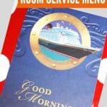 Blue card with picture of a cruise ship on it with text good morning at the bottom and a text overlay saying Disney Cruise room service menu at the top