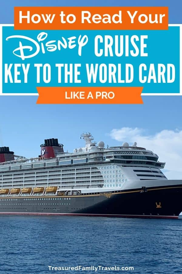 Long white and black cruise ship with yellow lifeboats in the water under text reading How to read your Disney Cruise Key to the World card