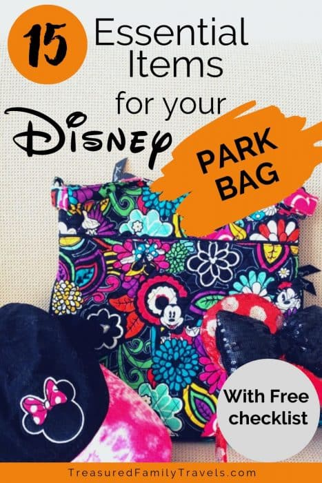 Floral patterned blue, yellow, pink and green purse with Mickey Mouse face, hot pink and black Minnie Mouse hat and red and silver Minnie Mouse ears under a text overlay for Disney Parks bag