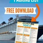 Large cruise ship, black on the bottom, white on top, anchored in the water with a blue sky and a Disney Cruise packing list overlay.