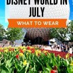 Red and yellow tulip flowers in front of a giant sliver golf ball looking structure behind the words 'Disney World in July - what to wear'