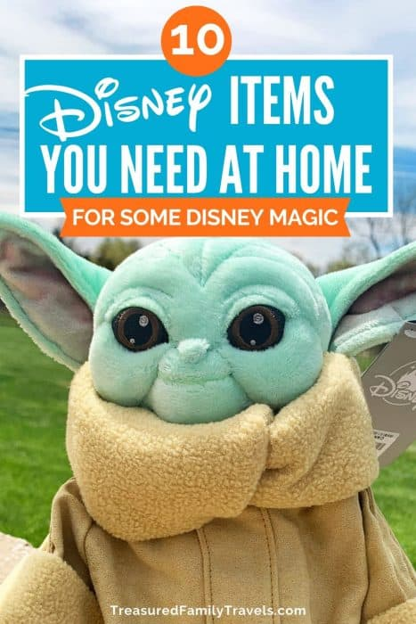 Mint green plush alien with a tan covering under the text Disney items you need at home
