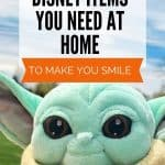 Mint green plush alien doll with tan covering with the text 10 Disney Items you need at home