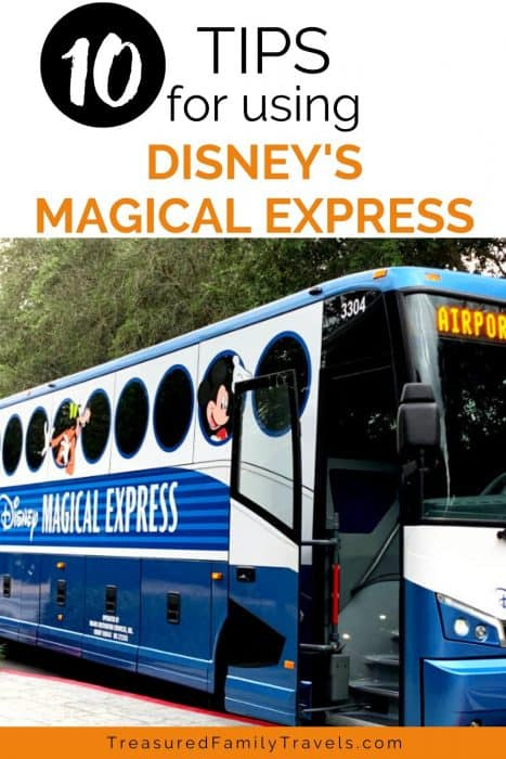 Large blue and white bus with round circle windows with words Disney Magical Express in the center and a white text overlay at the top with the words 10 tips for using Disney's Magical Express