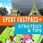 Two pictures - top one of large metal sphere depicting Epcot and bottom one of four green plastic cards with Disney characters