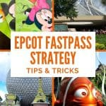 Four pictures - large orange ceramic fish, large sphere, 4 green plastic cards with Disney characters, glass and white building - under text saying Epcot Fastpass Strategy.