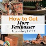 Four photo boxes of rides at Magic Kingdom and a FastPass scanner with a text overlay of how to get more FastPasses