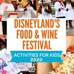 Four pictures; one of a female chef standing next to Chef Goofy; Chip 'n Dale dressed in chef costumes; A Food and Wine Festival pass; deep fried pizza egg rolls with parmesan cheese