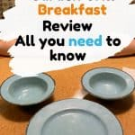 Blue plate with two blue bowls making a shape to look like a Mickey Mouse head with the text Garden Grill breakfast review with Chip 'n Dale