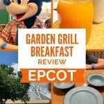 Four photos of Epcot's Garden Grill Restaurant featuring Chip 'n Dale's Harvest Feast. One photo of blue plates in the shape of a Mickey head, another photo of a large white and glass structure in the background of 'The Land' sign, one of Mickey Mouse and one of a mug of an orange colored juice.