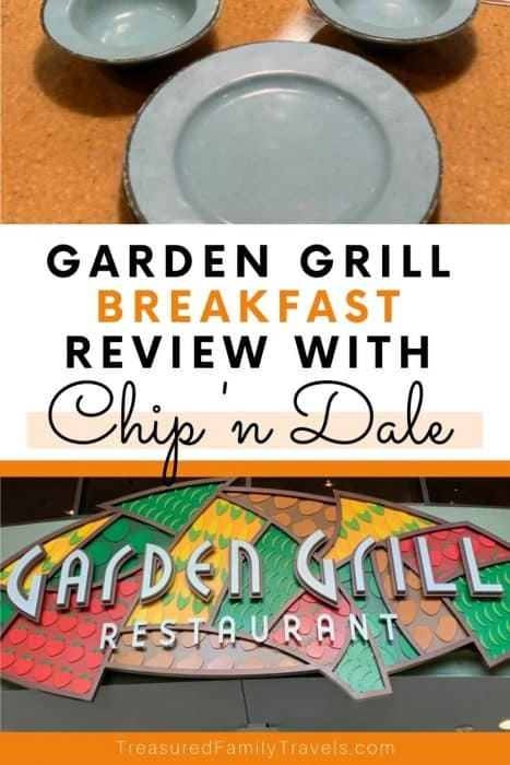 Top picture shows two bowls and a plate in the shape of a Mickey head; bottom picture is a red, yellow, green sign with black lettering reading Garden Grill Restaurant; center text says Garden Grill breakfast review