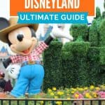 Waving Mickey Mouse wearing blue pants and red and white checked shirt in front of a bush trimmed castle