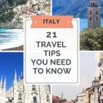 4 Pictures of Italy showing a gondola on a Venice canal, the Duomo in Milan, the seaside town of Positano and shining Lake Como