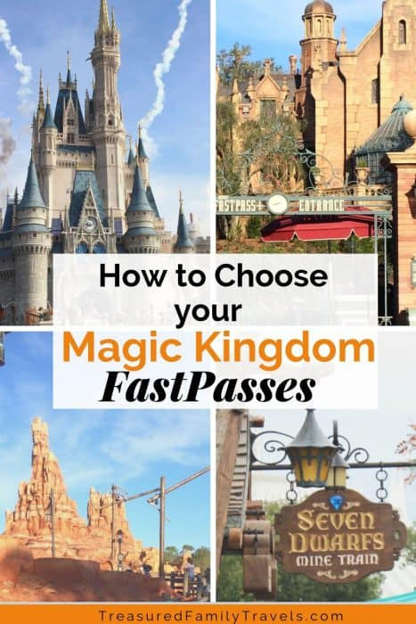 4 images showing pics of Disney World - Cinderella's castle, Big Thunder Mountain, Seven Dwarfs sign and The Haunted Mansion
