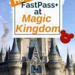 Cinderella's castle with characters and fireworks with blue sky in background of text overlay for Magic Kingdom Fastpasses