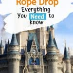 Dancing Disney characters on a stage in front of gray and blue castle with a text overlay reading 'Magic Kingdom rope drop - everything you need to know'