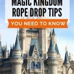 Cindarella's castle at Disney World behind text for Magic Kingdom rope drop tips