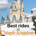 Light blue sky with Cinderella's castle in background; Text overlay on top.