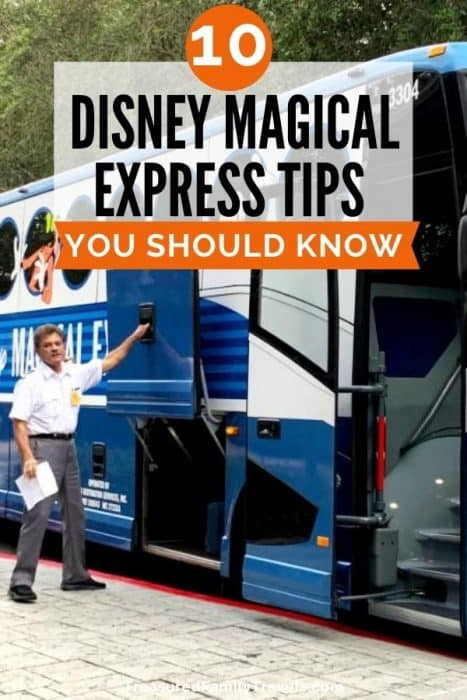 Large blue and white bus with man in white shirt and gray pants opening the luggage hatch; text of Disney's Magical Express tips in black on white overlay