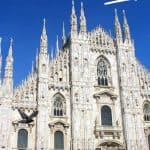 Milan Duomo against a deep blue sky