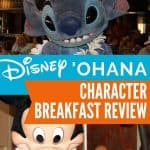 Top picture with blue stuffed space alien and bottom picture of Mickey Mouse dressed in hawaiian clothes shaking maracas at the 'Ohana character breakfast