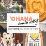 Four pictures including Mickey Mouse dancing, a sign with 'Ohana written on it, a mickey mouse waffle and a polynesian wood carving.