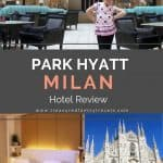 Park Hyatt Milan restaurant showing dark wood tables and teal chairs, a king size bed in bedroom and the Duomo