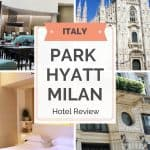 4 pictures of Milan and the Park Hyatt including the Duomo, the entrance to the Park Hyatt Milan hotel, the bedroom and the restaurant.