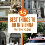 Four pictures showing what do in in Vienna such as take a boat cruise, visit the Stallions at the Spanish Riding School, admire Schonbrunn palace and see the stately white palace within the city