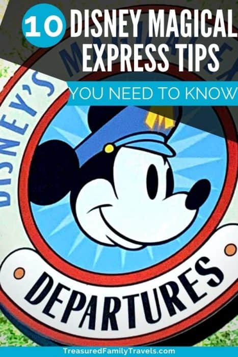 Round sign with a Mickey Mouse head in the center with the words Disney's Magical Express Departures around it