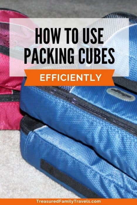 Three blue nylon packing cubes and two red ones in the back with the text 'how to use packing cubes efficiently'