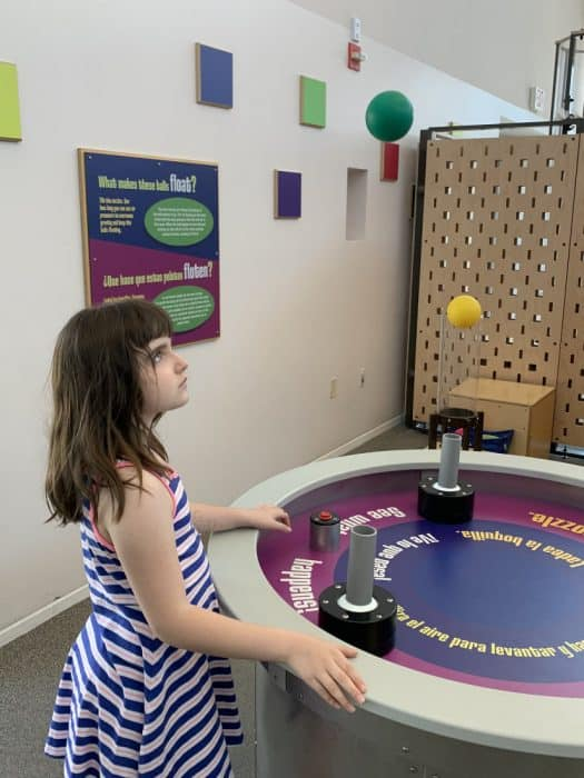 Girl by wind machine making balls float at the Children's Discovery Museum