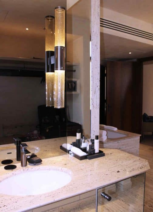 Sink, mirror and toiletries at the Park Hyatt Milan