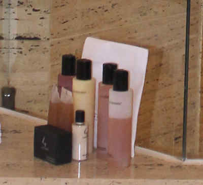Toiletries such as shampoo, conditioner, bath gel and lotion provided by the Park Hyatt Milan