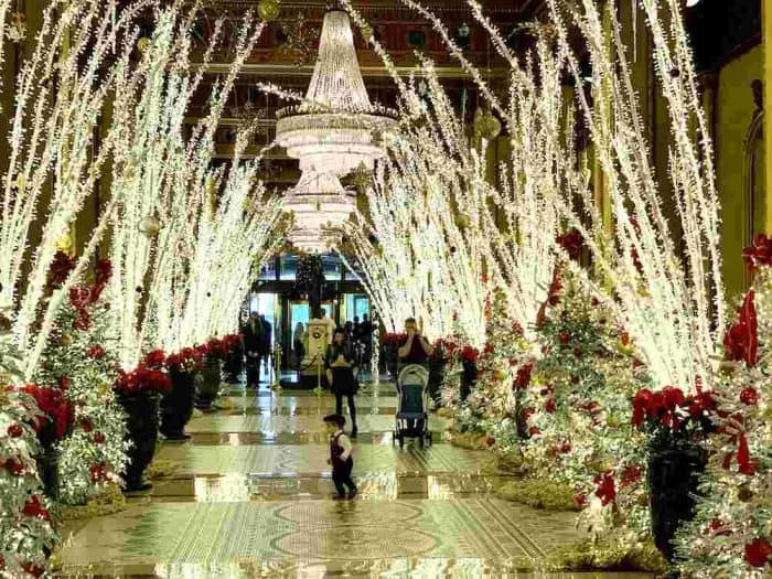 Holiday decorations lining a grand hall on both sides with tall white, lighted branches and christmas trees decorated with red bows and bulbs