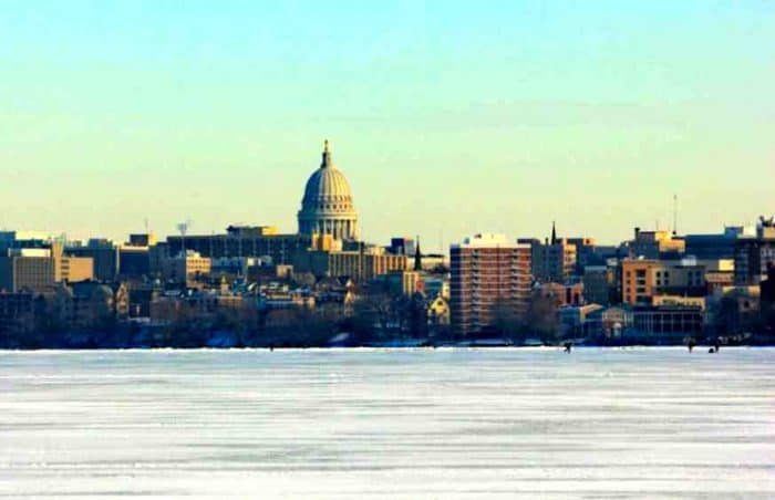 Lakefront view of downtown Madison, WI
