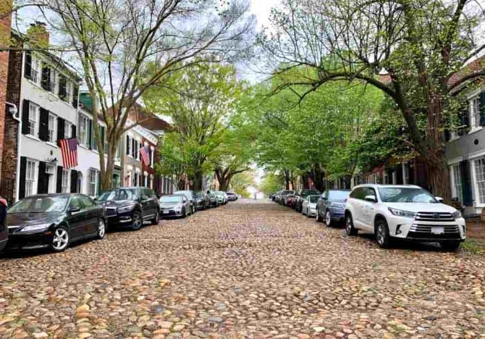 Cobblestone, tree lined street with brownstone houses and cars on each side.