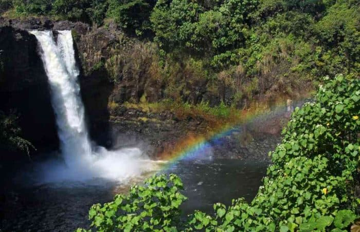Large waterfall falling into a pool of water surrounded by greenery and a rainbow in front of the falls in Hilo, Hawaii.
