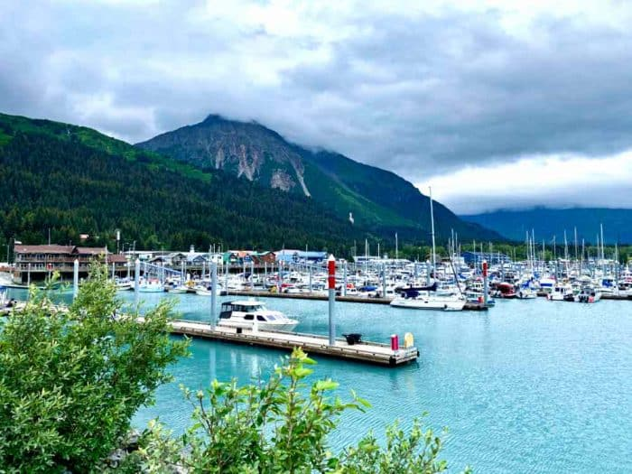 Marina with light blue water and lots of boats against a mountainous region in the background.